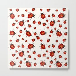 LOVING RED LADY BUGS  ON WHITE COLOR DESIGN ART Metal Print