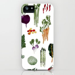 Whimsical Watercolor Vegetable Chart iPhone Case