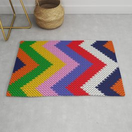 Knitted colorful chevron Rug