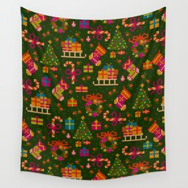 christmas x stitch pattern for the holiday mood Wall Tapestry