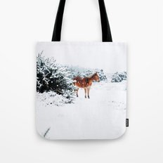 HORSE IN SNOW COVERED FOREST Tote Bag