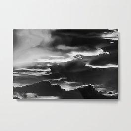 cloudy burning sky reacbw Metal Print