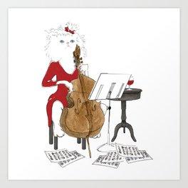 1004 Cello Cat Art Print