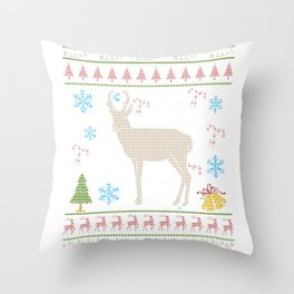 Prong Horn Sheep Hunting Christmas Ugly Holiday Shirt Throw Pillow