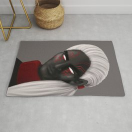 Dark Wizard Character With Red Eye Tattoos Rug