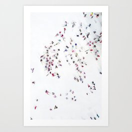 Aerial shot of skiers Art Print