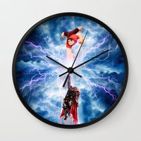 wreck it ralph Wall Clocks featuring THOR vs RALPH by Raisya
