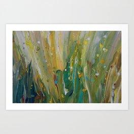 Fluid Nature - Windswept Cornfield - Abstract Acrylic Art Art Print