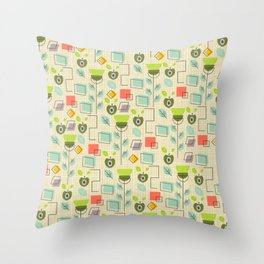 Mid-century flowers, fruits and more Throw Pillow