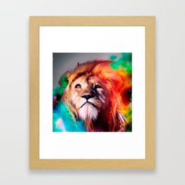 Colorful lion looking up Feathers Space Universe Framed Art Print