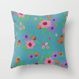 Spring in Blue Throw Pillow