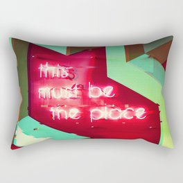 This Must Be The Place Neon Sign Glitch Aesthetic Rectangular Pillow