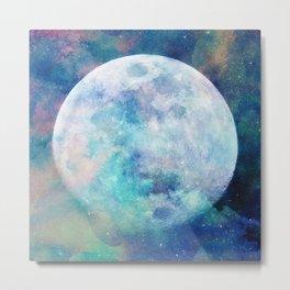 Moon + Stars Metal Print