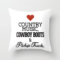 Love Country Music, Cowboy Boots & Pickup Trucks Throw Pillow