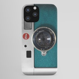 Blue Teal retro vintage camera with germany lens iPhone Case