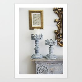 grey iron carved candlesticks Art Print