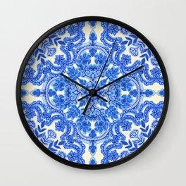 Cobalt Blue & China White Folk Art Pattern Wall Clock
