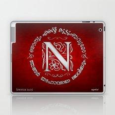 Joshua 24:15 - (Silver on Red) Monogram N Laptop & iPad Skin