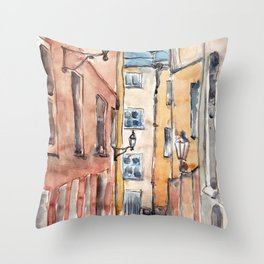 Street in Italy. Watercolor illustration Throw Pillow