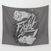 fight Wall Tapestries featuring The Fight by Fightstacy