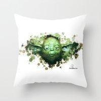yoda Throw Pillows featuring Yoda by Rene Alberto