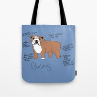 english bulldog Tote Bags featuring Bulldog by Lindsay Beth