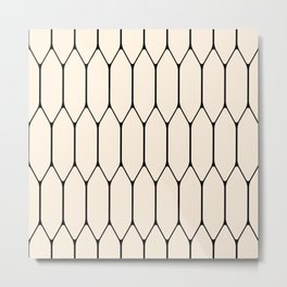 Long Honeycomb Geometric Minimalist Pattern in Almond Cream and Black Metal Print