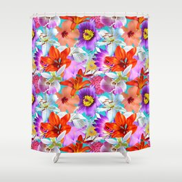 Tropical Floral Study in Turquoise Shower Curtain