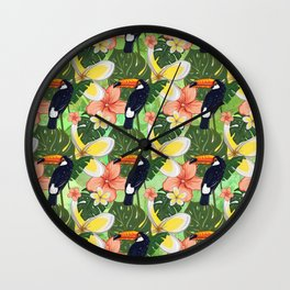 Toucan and Hawaii Hibiscus Pattern Wall Clock