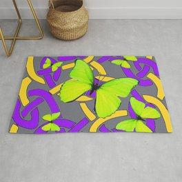 Lime Yellow Butterflies Purple-grey-gold Celtic Art Rug