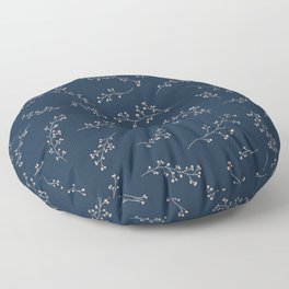 Berry Branches Pattern in Blue and Pink Floor Pillow