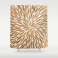 rose gold Shower Curtains featuring Rose Gold Burst by Cat Coquillette