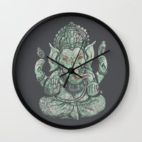 ganesha Wall Clocks featuring Ganesha by Thomcat23