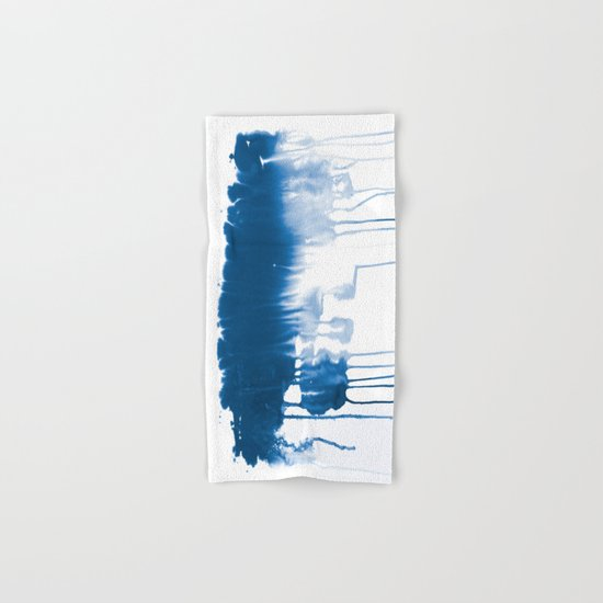 Paint 1 - indigo blue drip abstract painting modern minimal trendy home decor dorm college art Hand & Bath Towel
