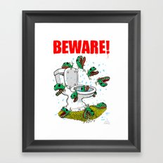 BEWARE! Toilet Piranhas! Framed Art Print