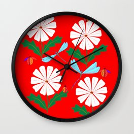 Summer Daisies, Dragonflies, Lady Bugs and the Sun Wall Clock