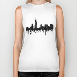 Watercolor Chicago Skyline Biker Tank