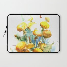 Watercolor yellow dandelion flowers Laptop Sleeve