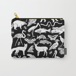 Linocut animals nature inspired printmaking black and white pattern nursery kids decor Carry-All Pouch
