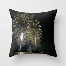 Bright lights on the water Throw Pillow