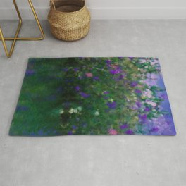 Painted Blue And Green Water Reflection  Rug