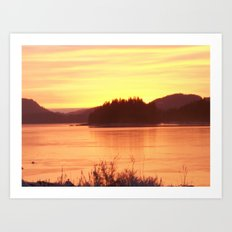 Frozen Sunset 2 - Gold Art Print
