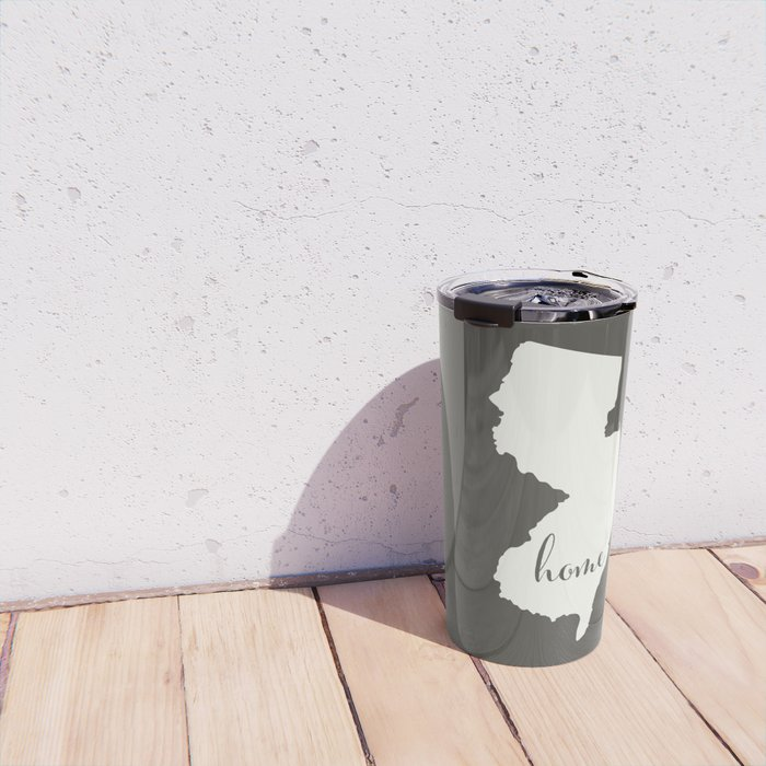 New Jersey is Home - White on Charcoal Travel Mug