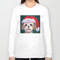 shih tzu Long Sleeve T-shirts featuring Christmas Shih Tzu By Annie Zeno by Annie Zeno