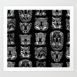 Kickass Kitties - white on black Art Print