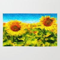 sunflowers Area & Throw Rugs featuring sunflowers by KrisLeov