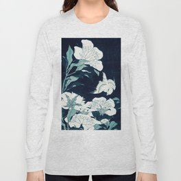 JAPANESE FLOWERS Midnight Blue Teal Long Sleeve T-shirt