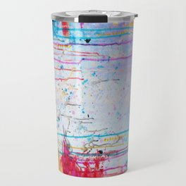 HAPPY TEARS Bright Cheerful Abstract Acrylic Painting, Drip Splat Bold Pink Red Purple Spring Art Travel Mug