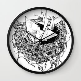 birds made of paper in a nest Wall Clock