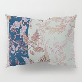 Tomatoes leaves in coral and blue Pantone palette Pillow Sham